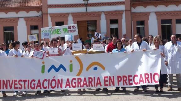 Una de las protestas de los trabajadores del IMIDA