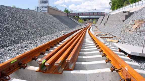 Obras de construcción de la red ferroviaria. ADIF