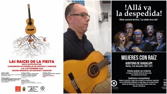Tomás García y cartel del ciclo 'Las raíces de la fiesta' y de concierto de Mujeres Con Raíz