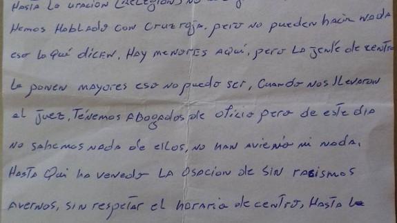 Carta de los internos del CIE