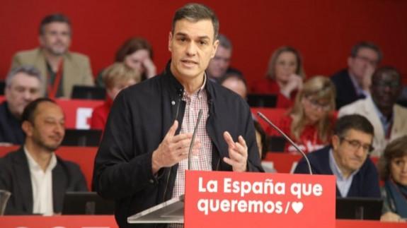 Pedro Sánchez se dirige al Comité Federal del PSOE. Foto PSOE.