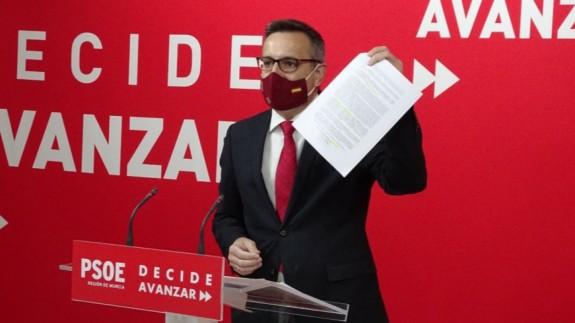 Diego Conesa en una rueda de prensa. PSRM-PSOE