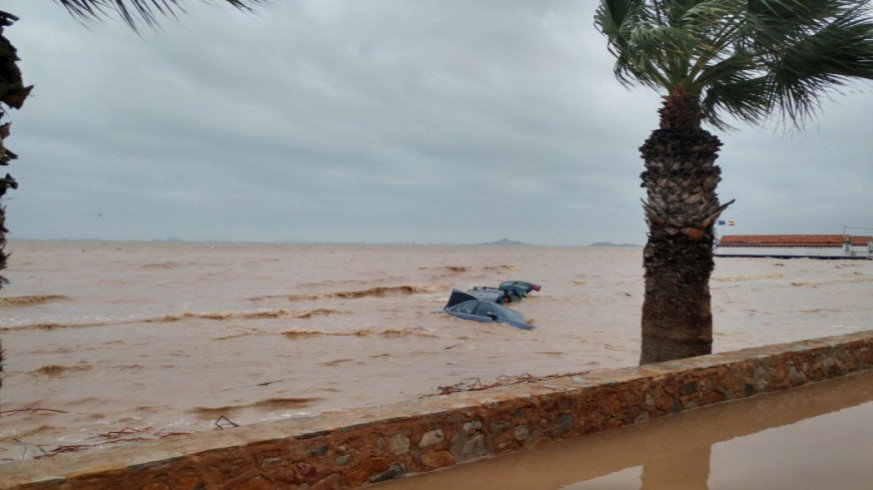 Estado del Mar Menor tras uno de los episodios de fuertes lluvias (archivo). ORM