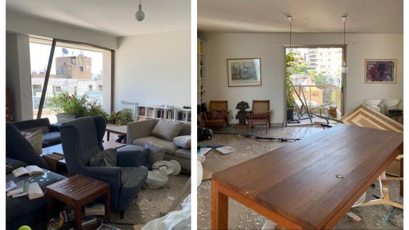 Casa de Araceli Clavel tras la explosión en Beriut