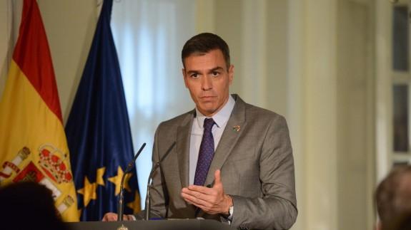 Pedro Sánchez en una rueda de prensa esta semana en Nueva York