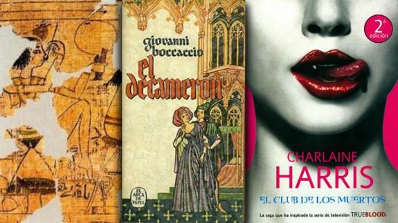 El Papiro de Turín y las portadas de 'El Decamerón' y una de las obras de Charlaine Harris