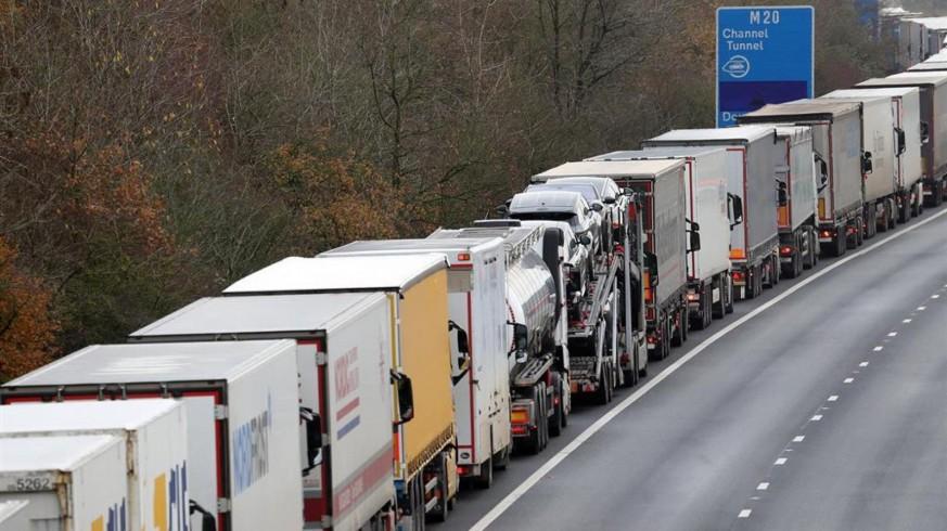 Retención de camiones en el Reino Unido. Foto: Europa Press-DPA