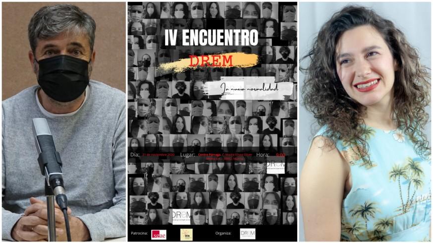 Jesús Galera, Alba Saura y cartel del IV Encuentro DREM