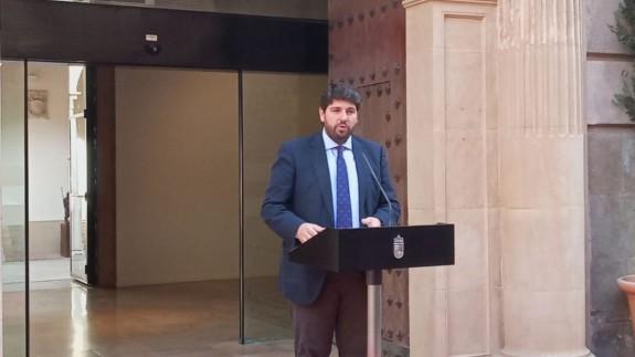 López Miras este martes en un acto celebrado en el Palacio de San Esteban.