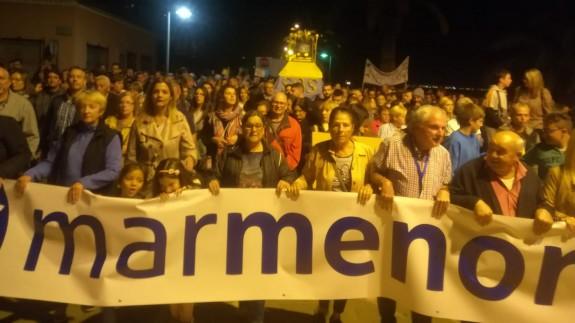 Manifestación por el Mar Menor en Santiago de la Ribera. FOTO ORM.