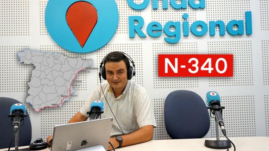 José Antonio García Ayala y mapa de España con el recorrido de la N-340