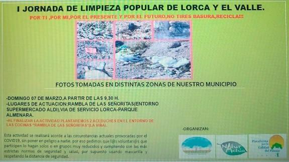 TARDE ABIERTA. Jornada popular de limpieza en Lorca este domingo