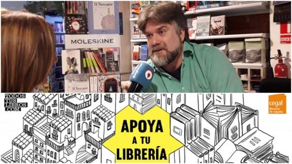 Vicente Velasco Montoya e imagen de la campaña 'Apoya a tu librería'