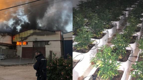 La nave incendiada (izda.) y la plantación de marihuana incautada. FOTO POLICÍA NACIONAL