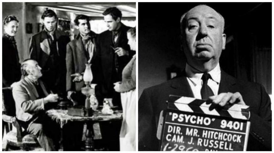 Fotograma de 'Qué verde era mi valle' y fotografía de Alfred Hitchcock