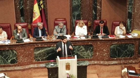 Intervención de López Miras en la anterior sesión de investidura