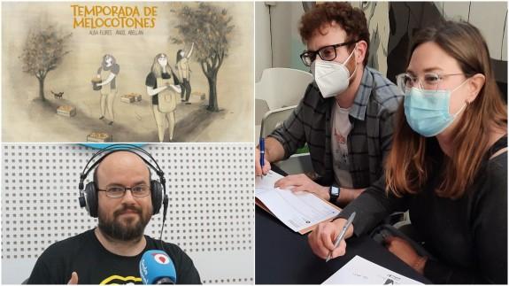 Ángel Abellán, Alba Flores, Antonio G. Caballer y portada de 'Temporada de melocotones'
