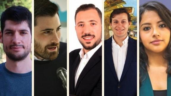 Miguel Company (PSOE), Fran García (PP), Paco Morales (Cs), Ignacio Arcas (Vox) y Margarita Guerrero (UP)