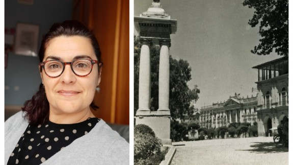 Clara Alarcón junto a una imagen del desaparecido Parque Ruiz Hidalgo