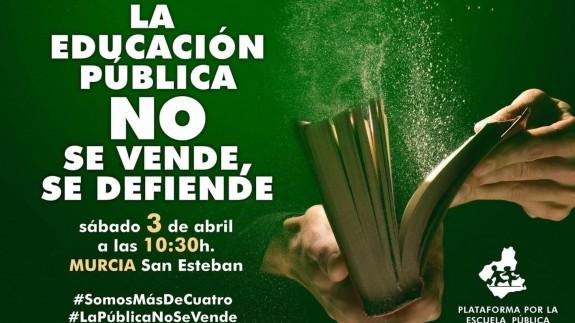 """La Marea Verde convoca una concentración este sábado en Murcia contra la """"venta"""" de la Consejería de Educación"""