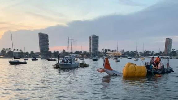 Accidente registrado en el Mar Menor en septiembre de 2019 en el que fallecieron dos pilotos