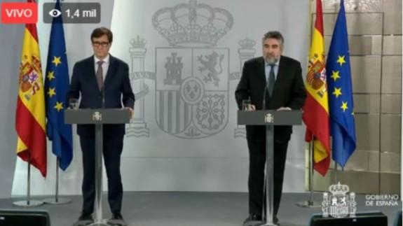 Illa y Rodríguez Uribes en rueda de prensa, esta tarde.