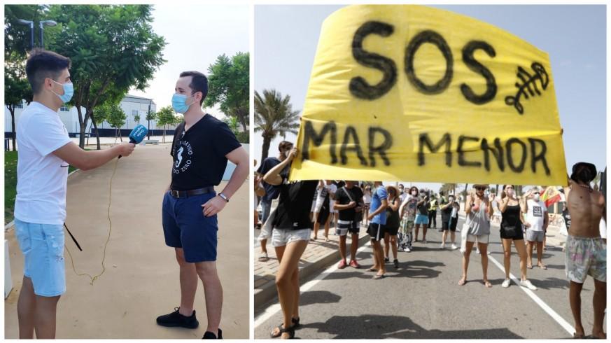 Izquierda: Fran Espín y Joaquín Barradas. Derecha: gente manifestándose en La Manga. FOTOS: ORM y Europa Press