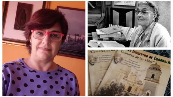 Clara Alarcón junto a una imagen de María Moliner y la portada de la revista de Vélez-Rubio