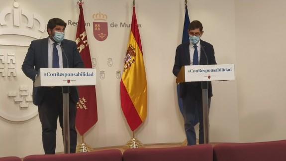 Rueda de prensa ofrecida por López Miras y Manuel Villegas.