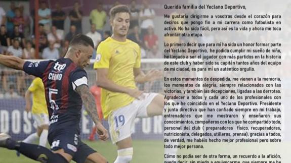 Chino anuncia su retirada del fútbol