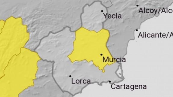 Nivel amarillo en la Vega del Segura. AEMET