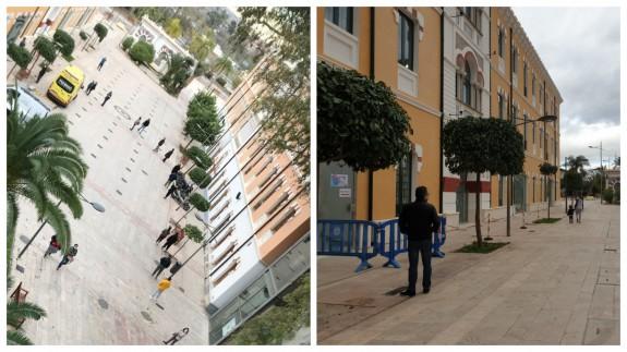 Colas, el martes, para acceder al punto Covid del Cuartel de Artillería (izqda) y, esta mañana, vallas para ordenar el acceso (dcha). CEDIDA/ ORM