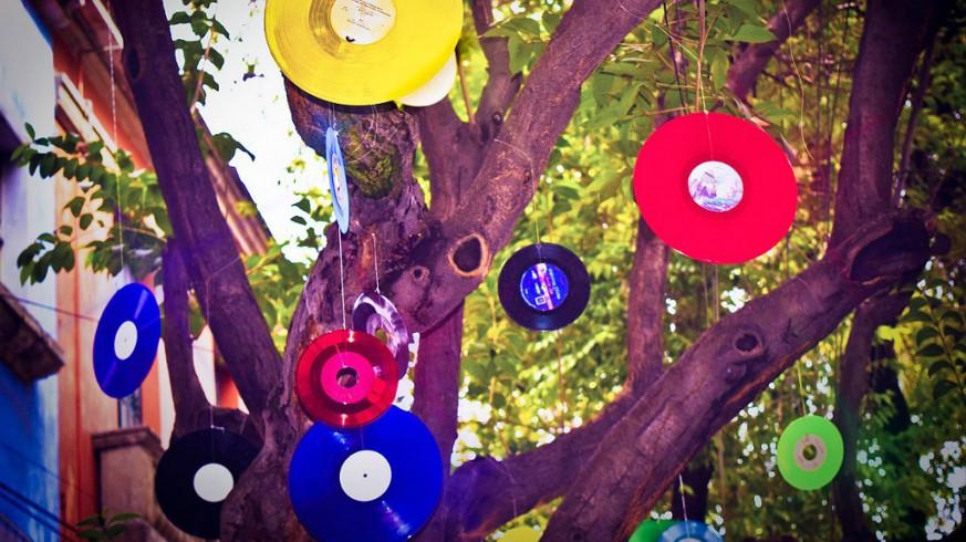 Discos de vinilo colgados en árbol