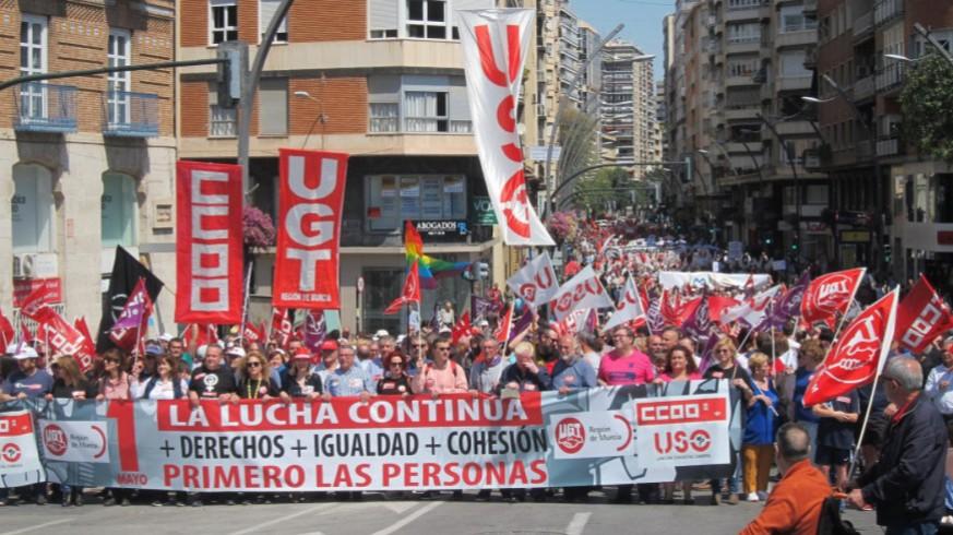 Manifestación por el 1 de mayo en Murcia en 2019 (archivo9. ORM