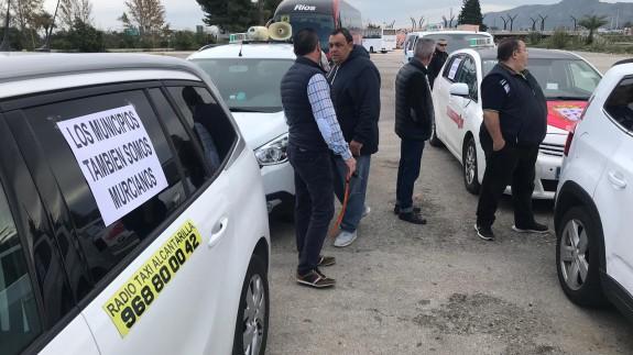 Protesta de los taxistas este jueves
