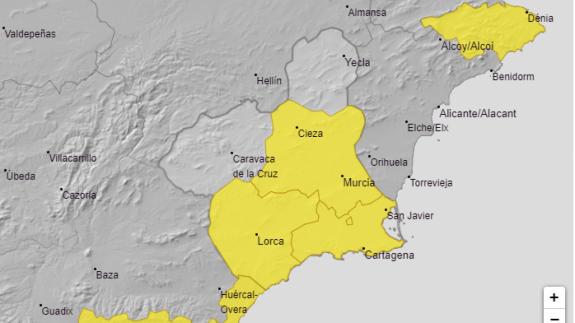 AEMET advierte de lluvias de 20 litros en una hora este martes en el Campo de Cartagena y Mazarrón