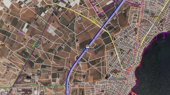 Mapa de la zona del accidente en Los Alcázares. 112