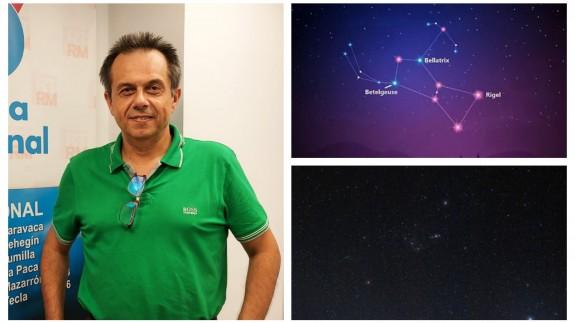 Juan Pedro Gómez junto a una infografía y una fotografía suya donde aparece Betelgeuse