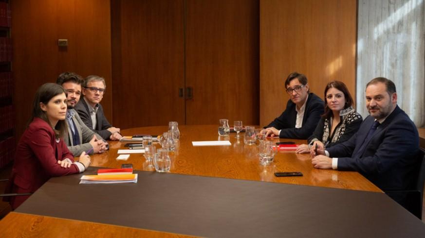 Una de las reuniones entre PSOE y ERC
