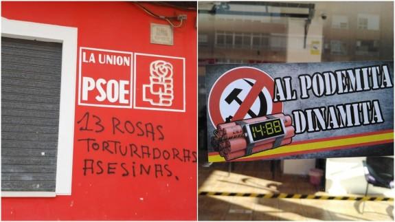 Pintadas en las sedes del PSOE y Podemos
