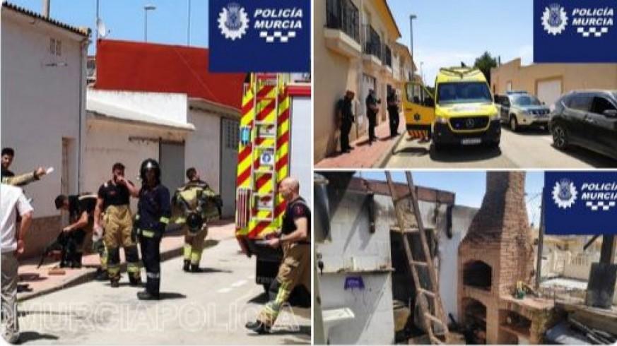 Dos heridos en el incendio de una vivienda en la pedanía murciana de Sucina