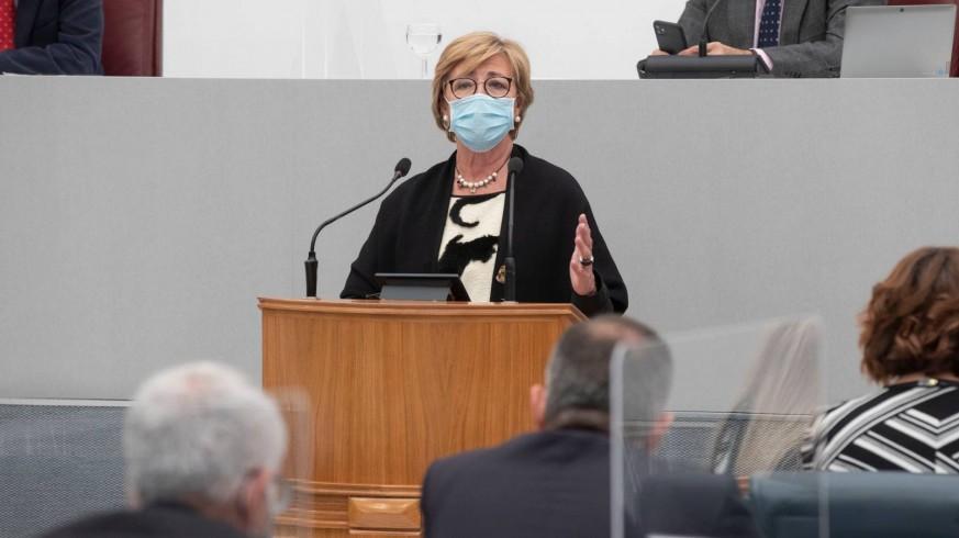 La diputada popular, M.Carmen Pelegrín, durante su intervención en el Pleno. ASAMBLEA REGIONAL