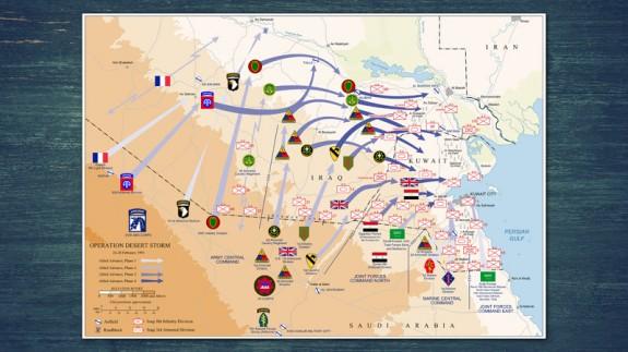Mapa explicativo de la Operación Tormenta del Desierto