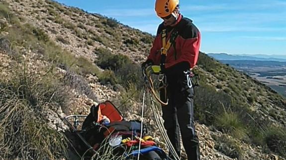 Rescate de la parapentista en el Cerro de La Paca