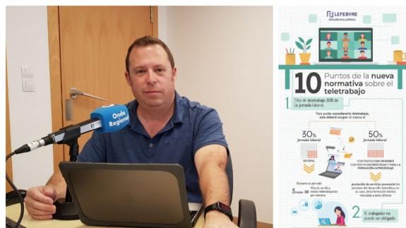 Antonio Rentero junto a una imagen del decálogo LEFEBVRE sobre teletrabajo