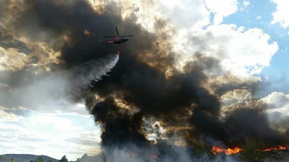 Imagen del incendio declarado en Cehegín. Foto: 112
