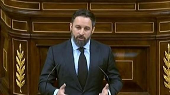 Santiago Abascal durante su intervención en el Congreso