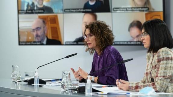 Montero y Darias en la rueda de prensa tras la reunión del Consejo de Ministros. MONCLOA