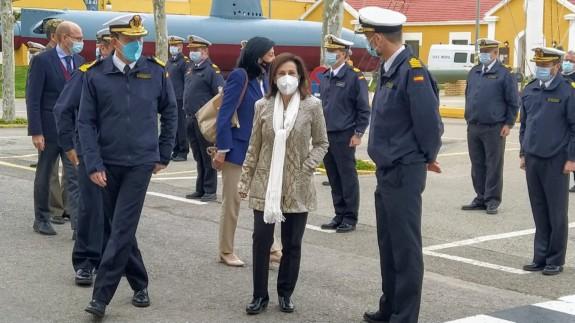Margarita Robles a su llegada al Arsenal