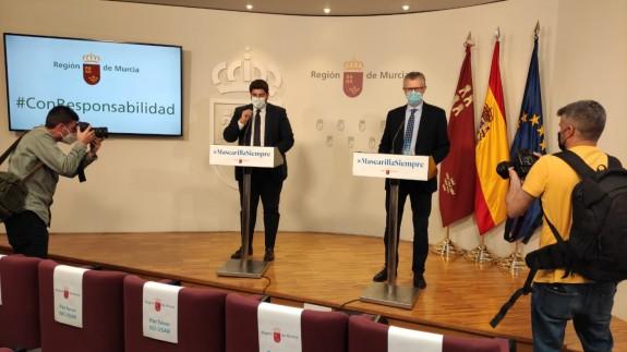 Rueda de prensa ofrecida este viernes por López Miras y Pedreño